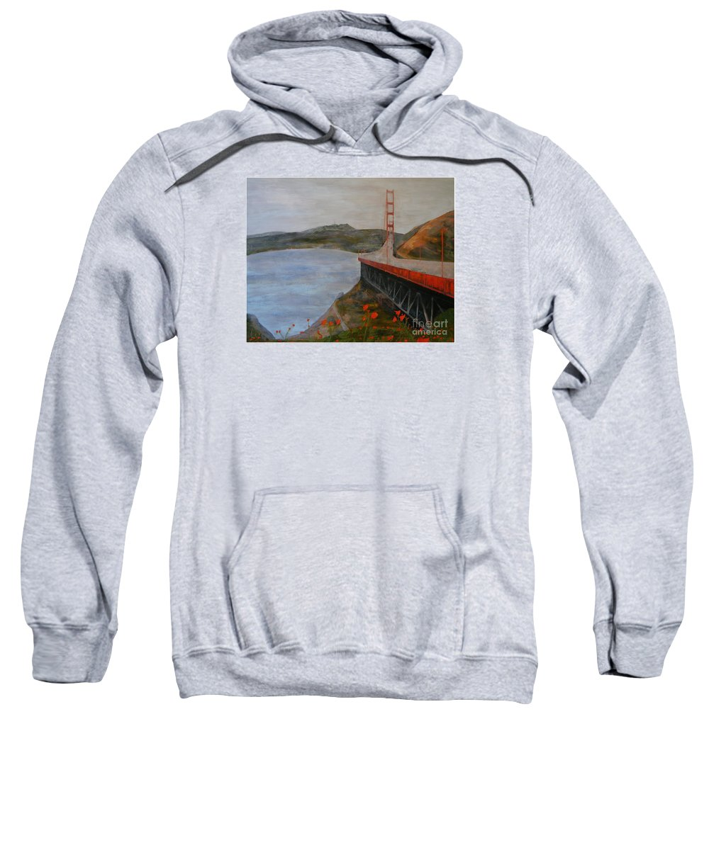 Golden Gate Bridge Sweatshirt featuring the painting Golden Gate Bridge by Ellen Beauregard