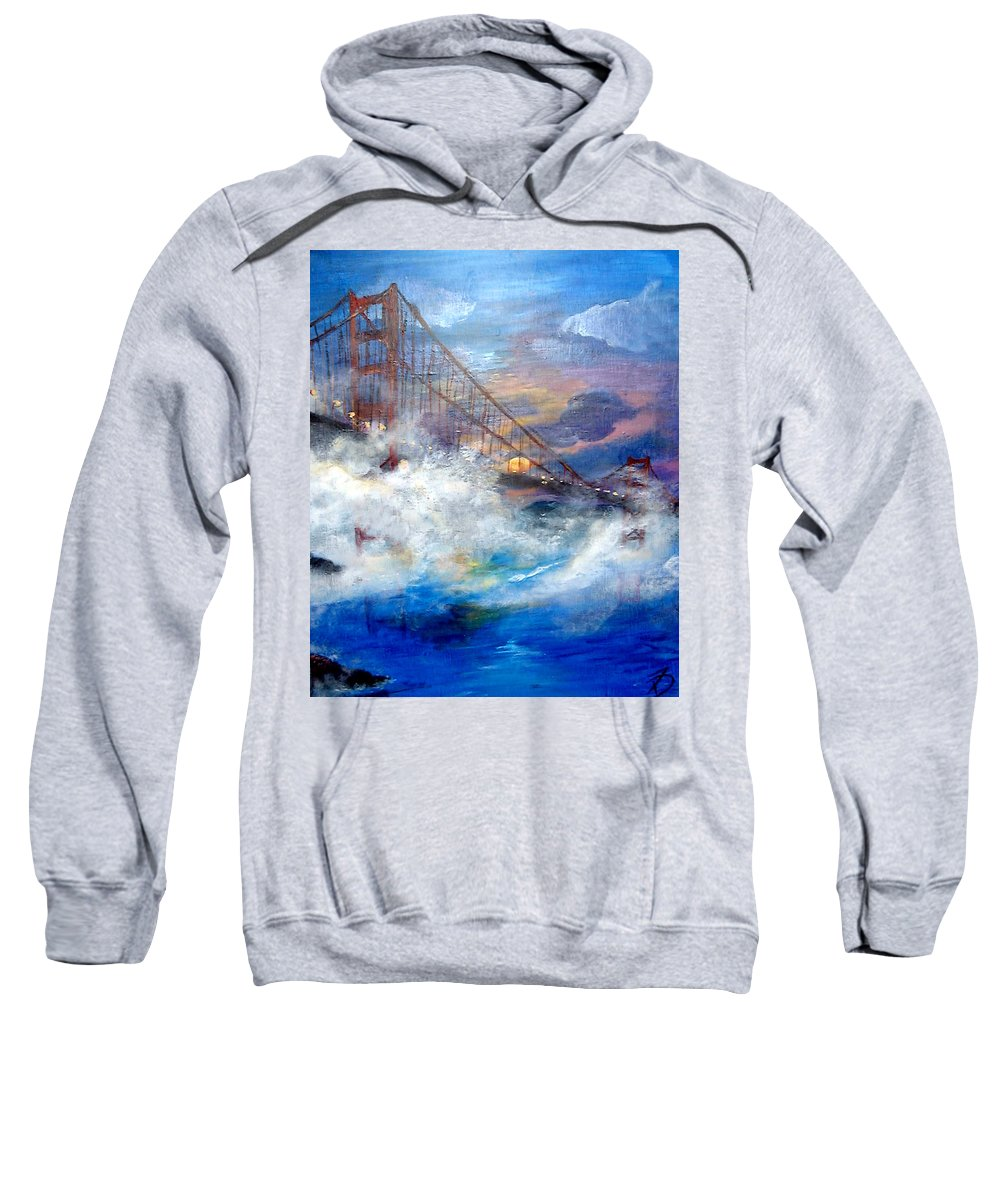 Golden Gate Sweatshirt featuring the painting Golden Gate Sunset by Travis Day