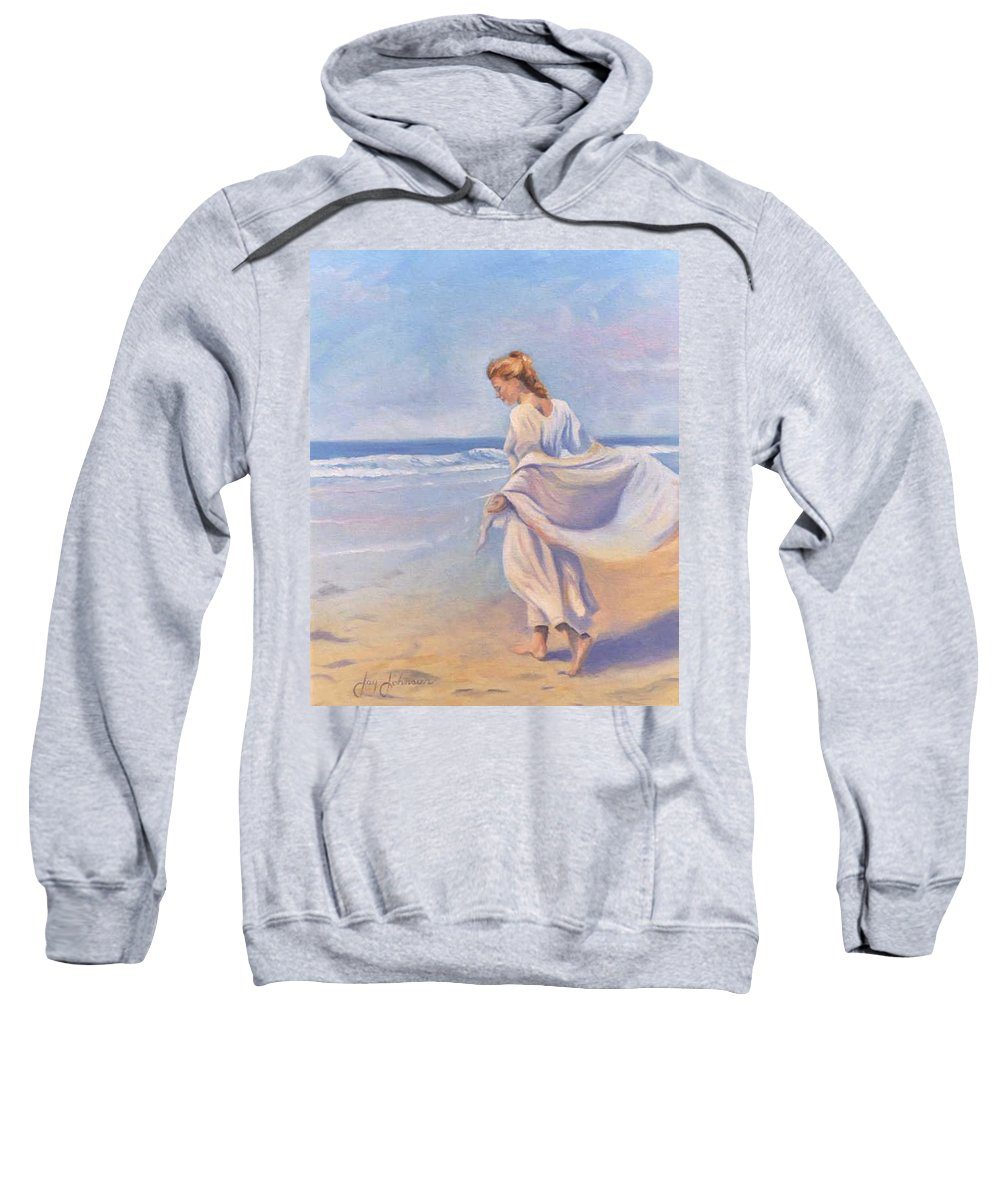 Beach Sweatshirt featuring the painting Golden Girls by Jay Johnson