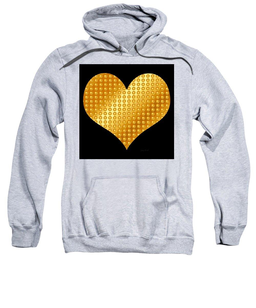 Golden Sweatshirt featuring the digital art Golden Heart Black by Yamy Morrell