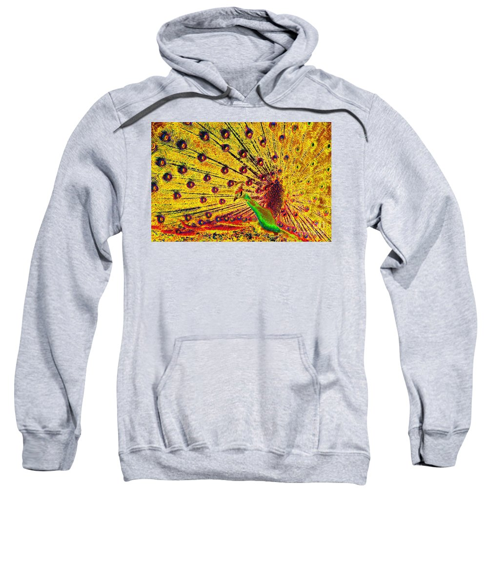 Bird Sweatshirt featuring the painting Golden Peacock by David Lee Thompson