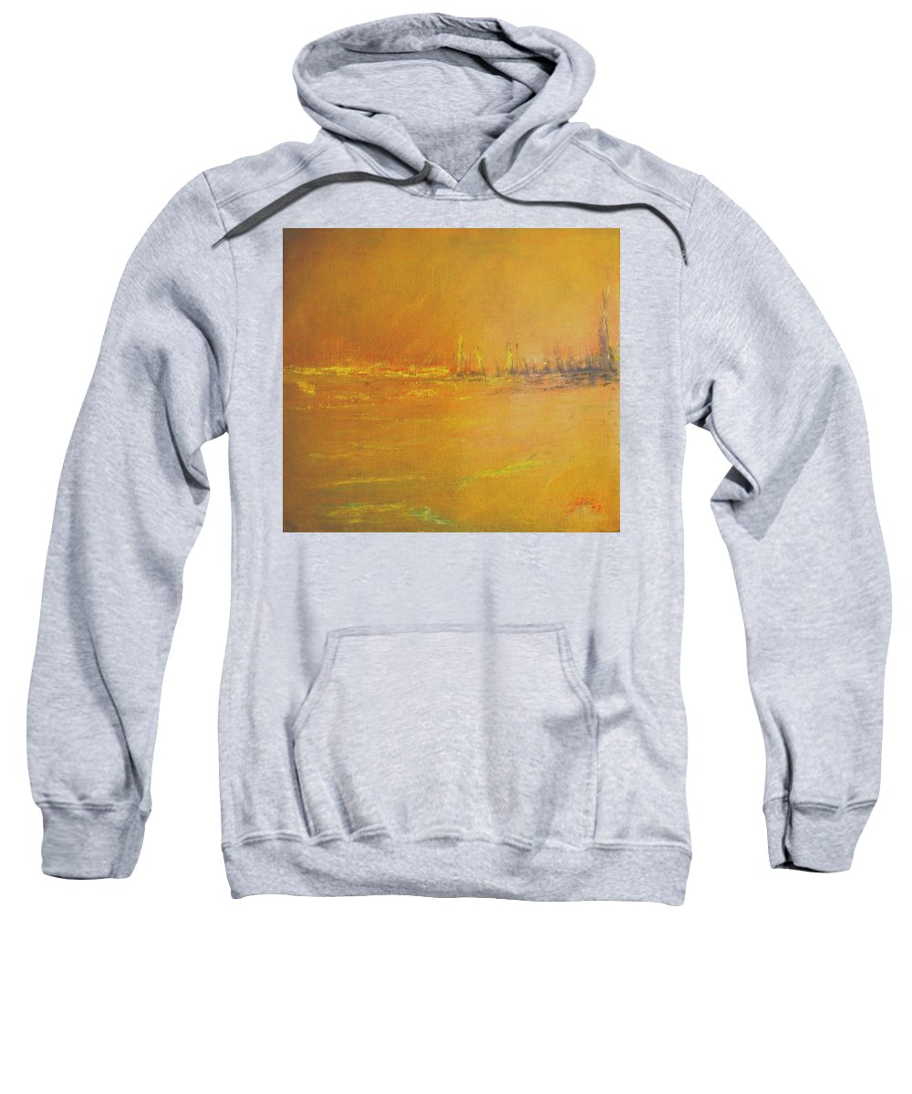 Ships Sweatshirt featuring the painting Golden Sky by Jack Diamond