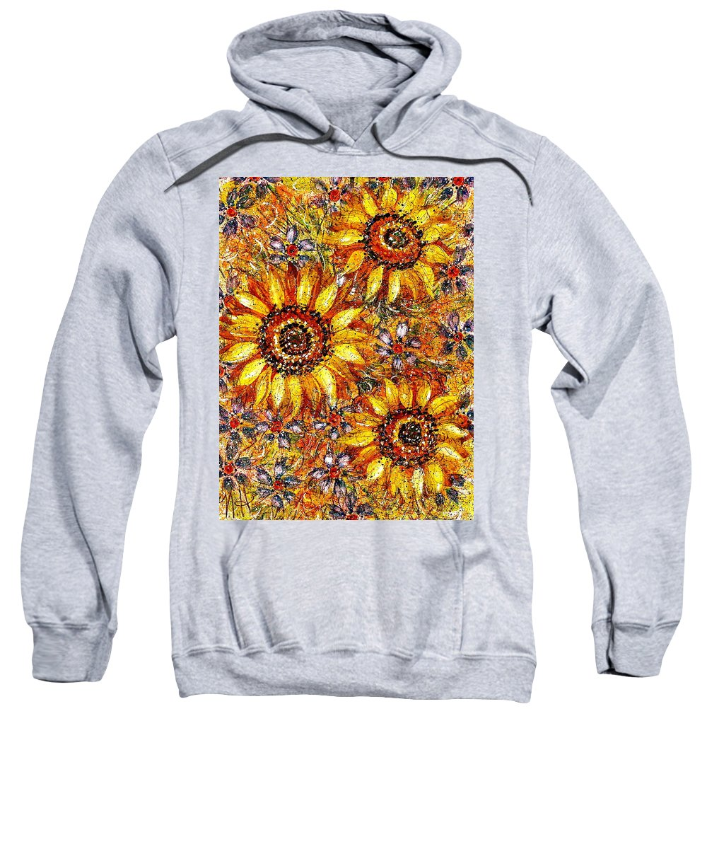 Sunflowers Sweatshirt featuring the painting Golden Sunflower by Natalie Holland