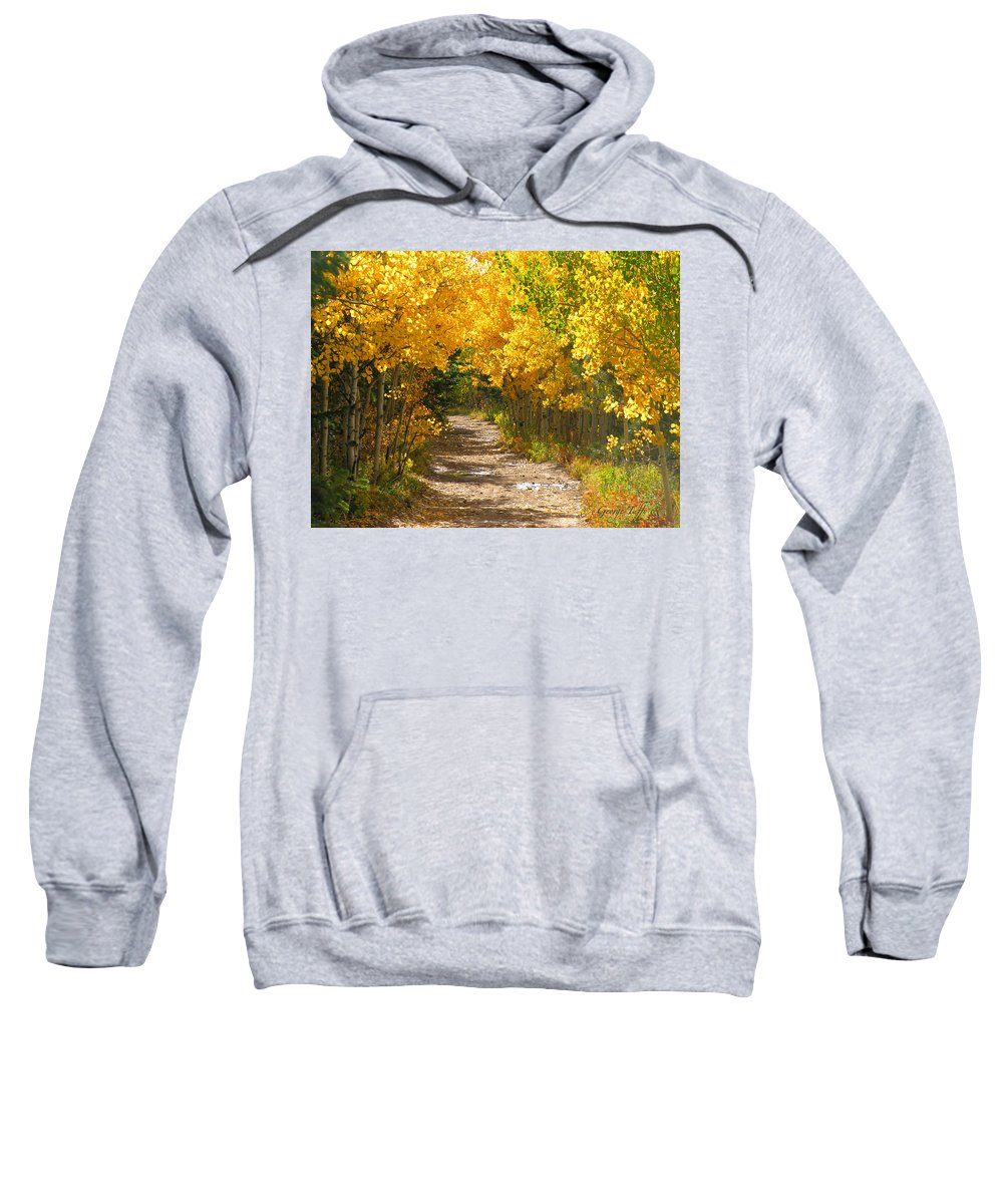 Fall Autumn Walk Path Hike Aspen Rocky Mountains Goldhill Sunny Sweatshirt featuring the photograph Golden Tunnel by George Tuffy