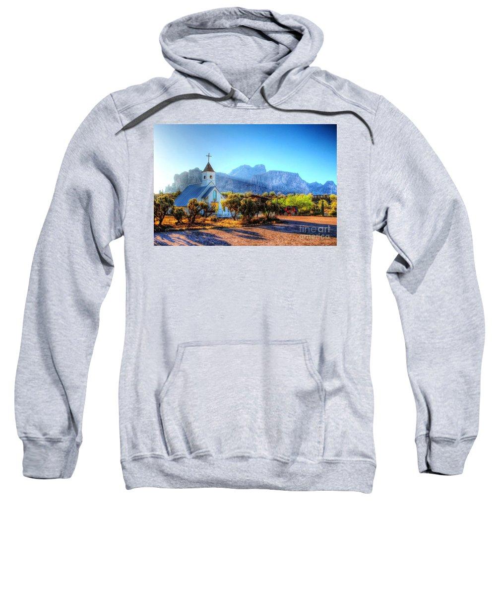 Saguaro Sweatshirt featuring the digital art Goldfield Church by Dan Stone