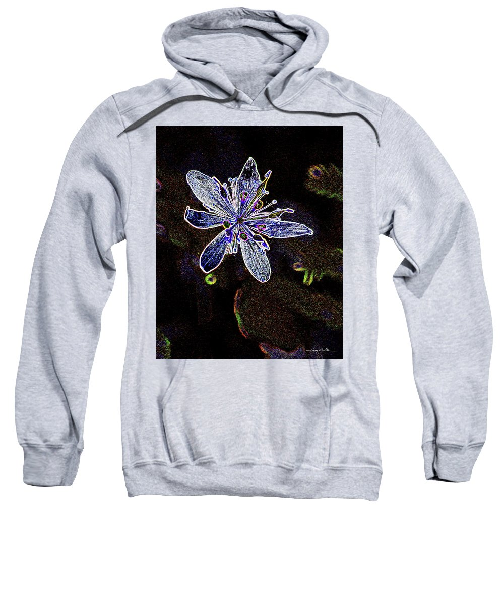 Flower Sweatshirt featuring the pyrography Goldthread In Outline by Harry Moulton