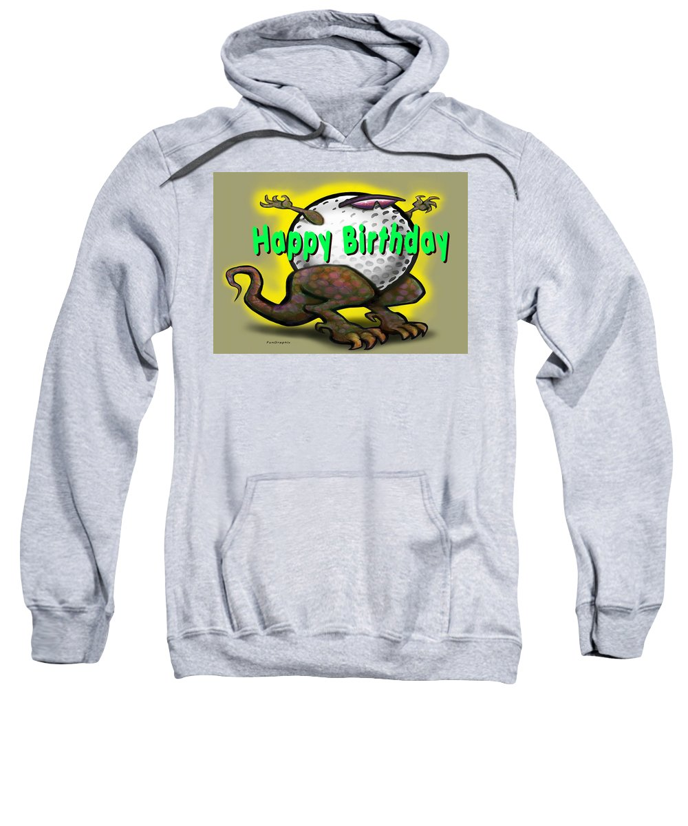 Golf Sweatshirt featuring the greeting card Golf A Saurus Birthday by Kevin Middleton