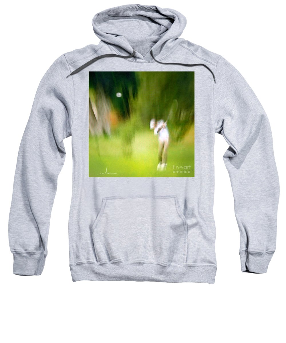 Golf Sweatshirt featuring the painting Golf At The Blue Monster In Doral Florida 01 by Miki De Goodaboom
