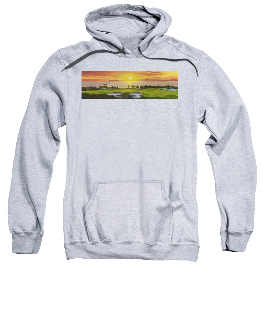 Golf Sweatshirt featuring the painting Golfing Heaven by Nicolas Nomicos