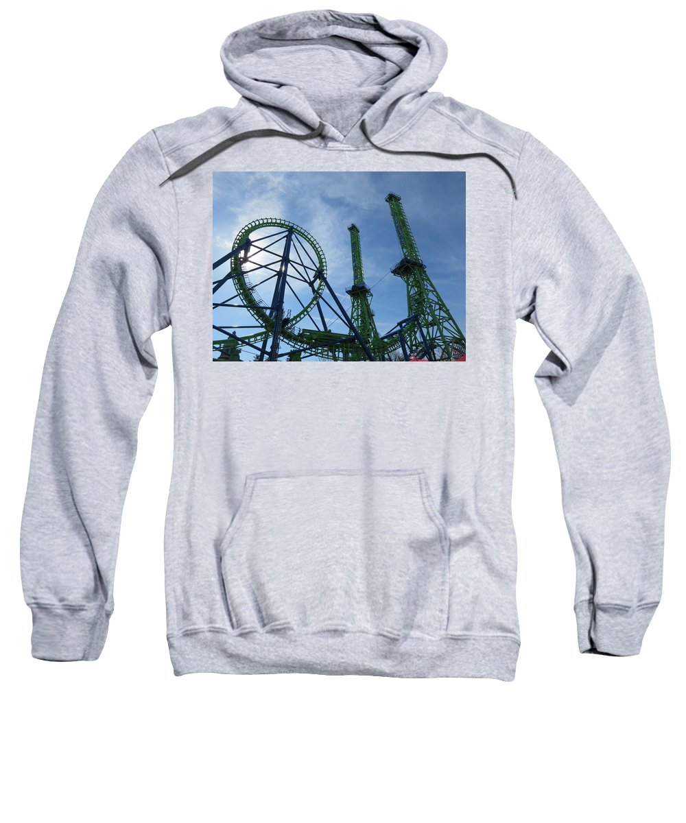 Goliath Vekoma Giant Inverted Boomerang Six Flags New England Agawam Ma Sweatshirt featuring the photograph Goliath Boomerang by Tcr