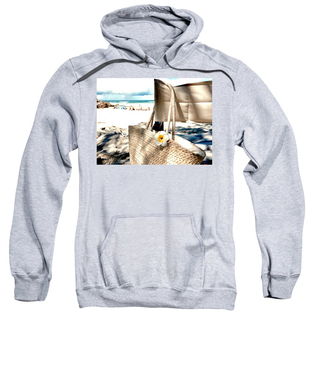Beach Sweatshirt featuring the photograph Gone For A Swim by Anthony Robinson