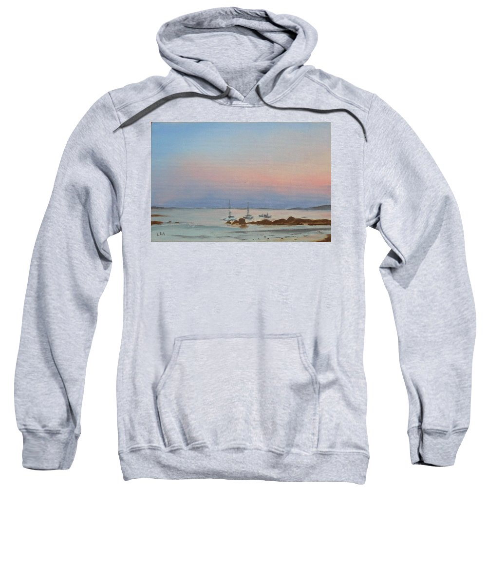 Seascape Sweatshirt featuring the painting Good Harbor by Lea Novak