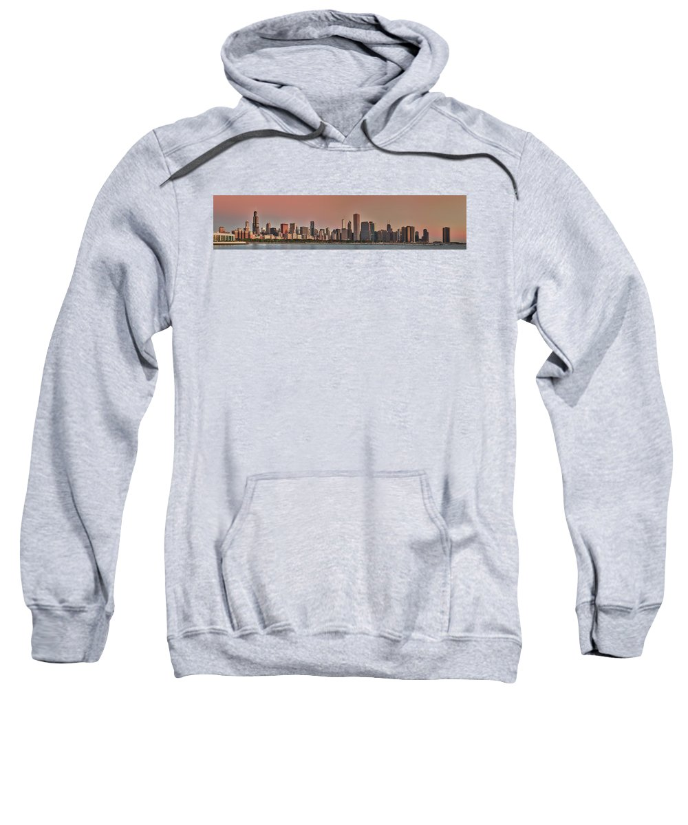 Chicago Sweatshirt featuring the photograph Good Morning Chicago Panorama by Sebastian Musial