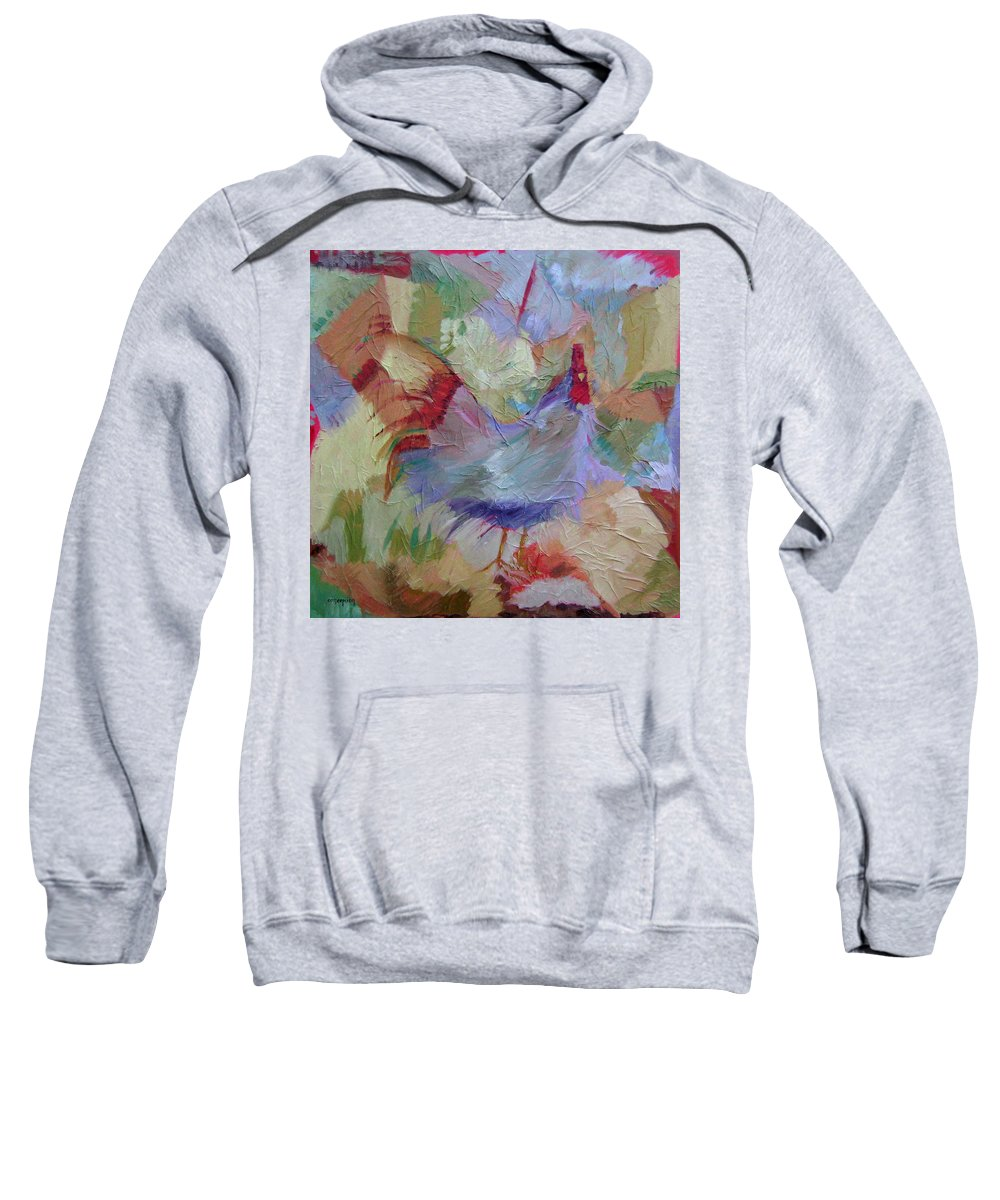 Chicken Paintings Sweatshirt featuring the painting Good Morning by Ginger Concepcion