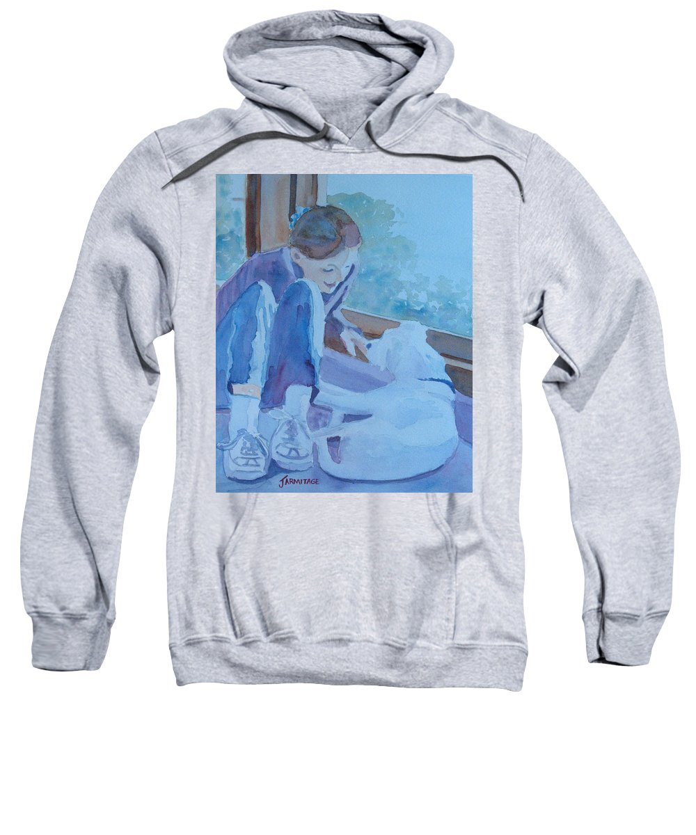 Girl Sweatshirt featuring the painting Good Morning Puppy by Jenny Armitage