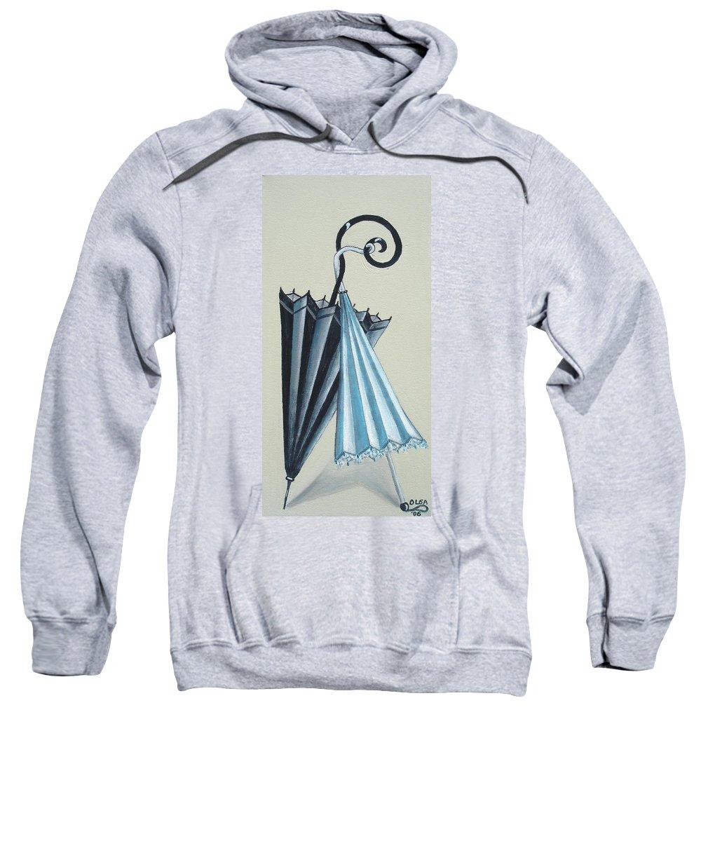 Umbrellas Sweatshirt featuring the painting Goog Morning by Olga Alexeeva