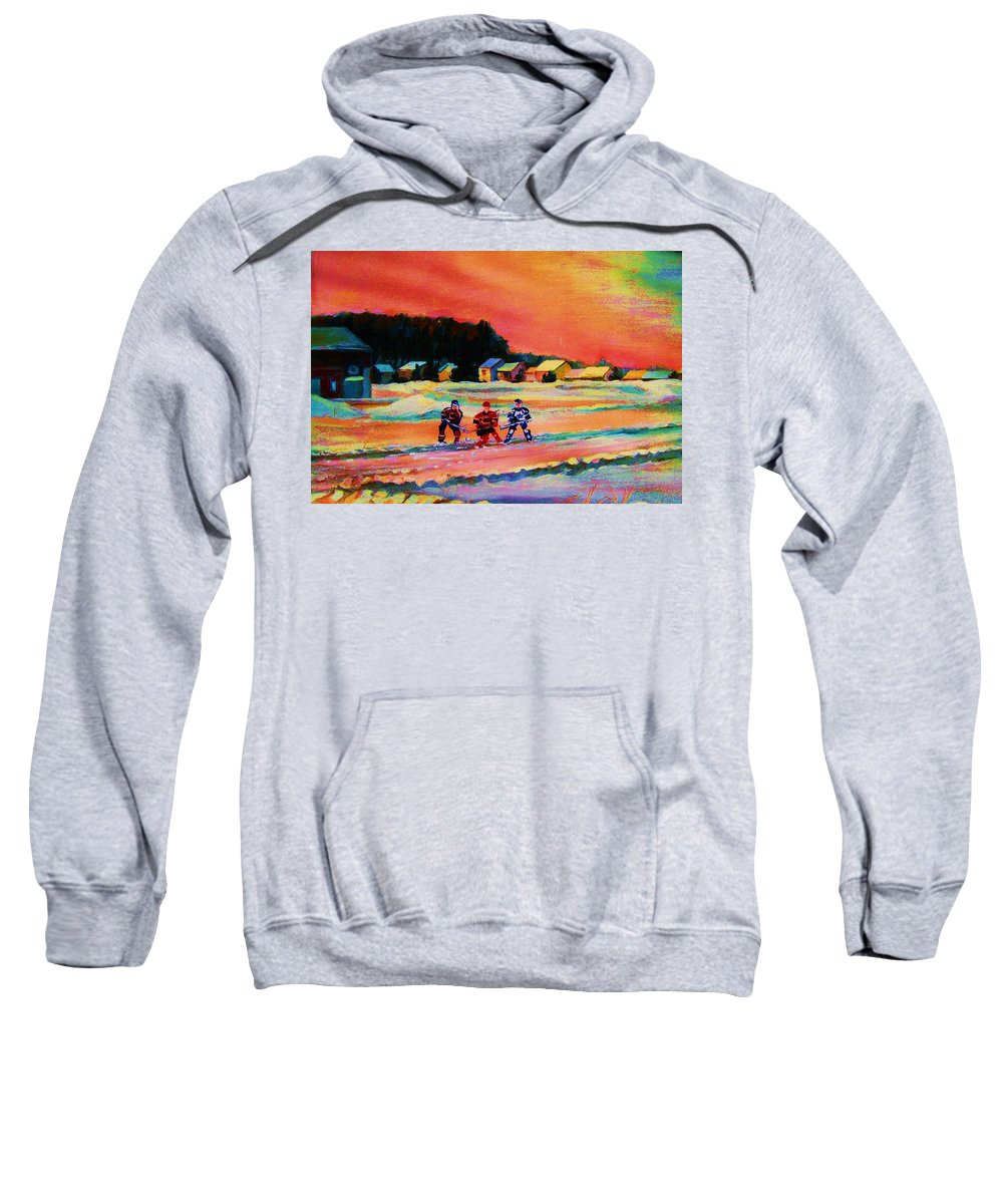 Hockey Landscape Sweatshirt featuring the painting Gorgeous Day For A Game by Carole Spandau
