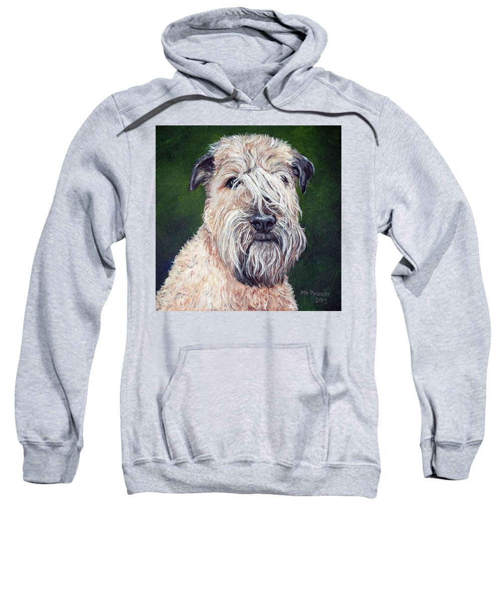 Dog Sweatshirt featuring the painting Gracie, Soft Coated Wheaten Terrier by Monika Brauer