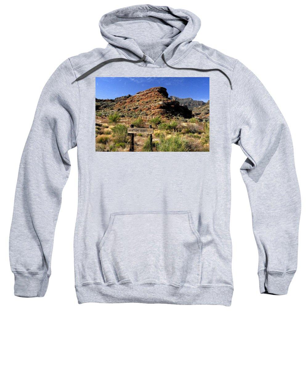 Grafton Utah Sweatshirt featuring the painting Grafton Cemetery by David Lee Thompson