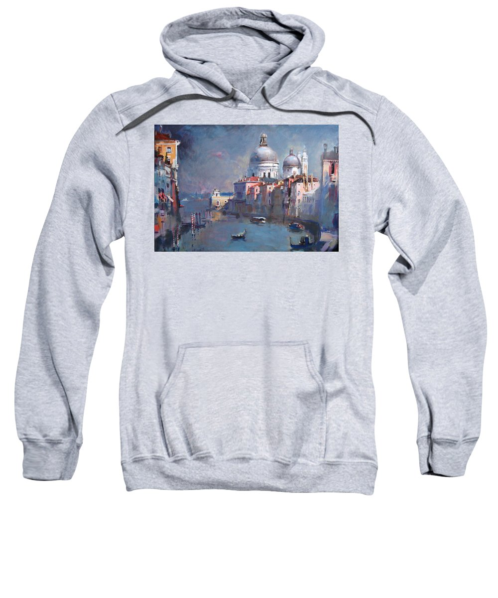 Landscape Sweatshirt featuring the painting Grand Canal Venice by Ylli Haruni