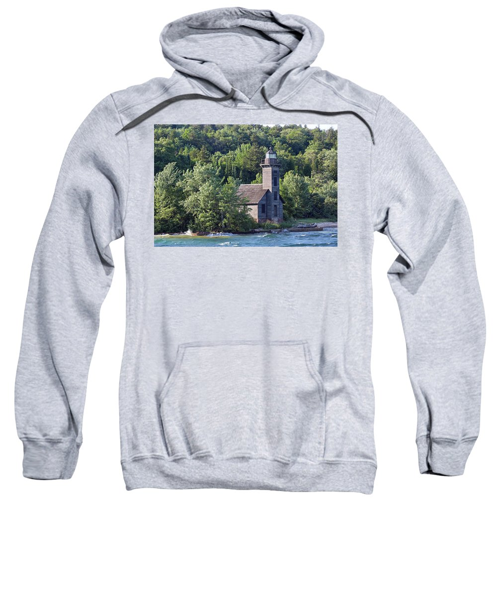 Light House Sweatshirt featuring the photograph Grand Island East Channel Light by Paul A Williams