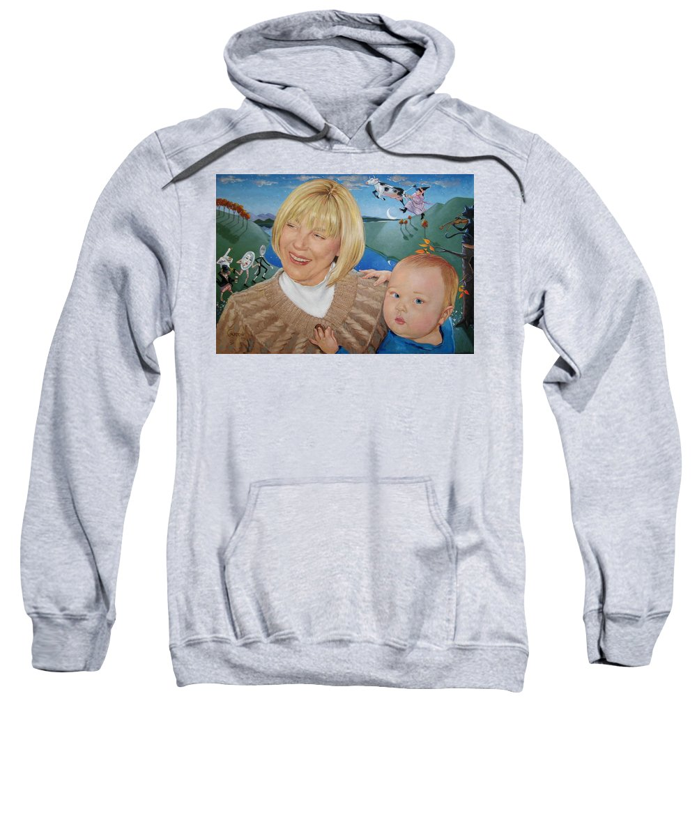 Portrait Sweatshirt featuring the painting Grandma And Kaidin by Jerrold Carton