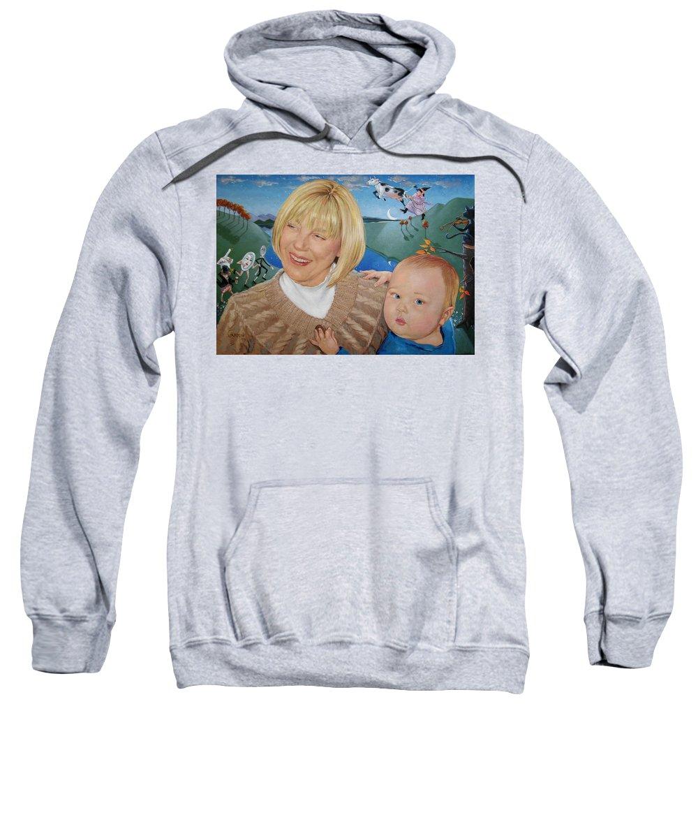 Portrait Sweatshirt featuring the painting Grandma And Kaidin by Jerrold Carton