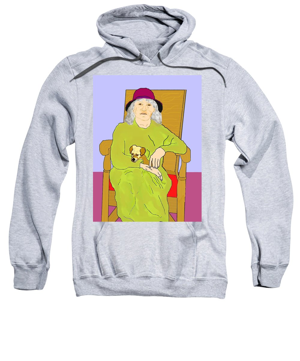 Grandmother Sweatshirt featuring the painting Grandma And Puppy by Pharris Art
