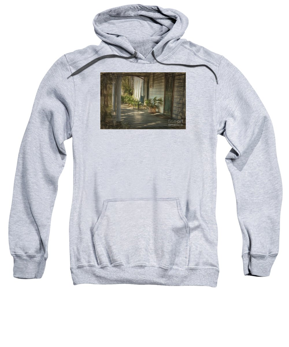 Grandmas Porch Drawing Sweatshirt featuring the photograph Grandmas Porch Drawing by C W Hooper