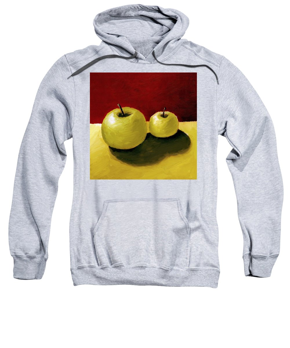 Apple Sweatshirt featuring the painting Granny Smith Apples by Michelle Calkins