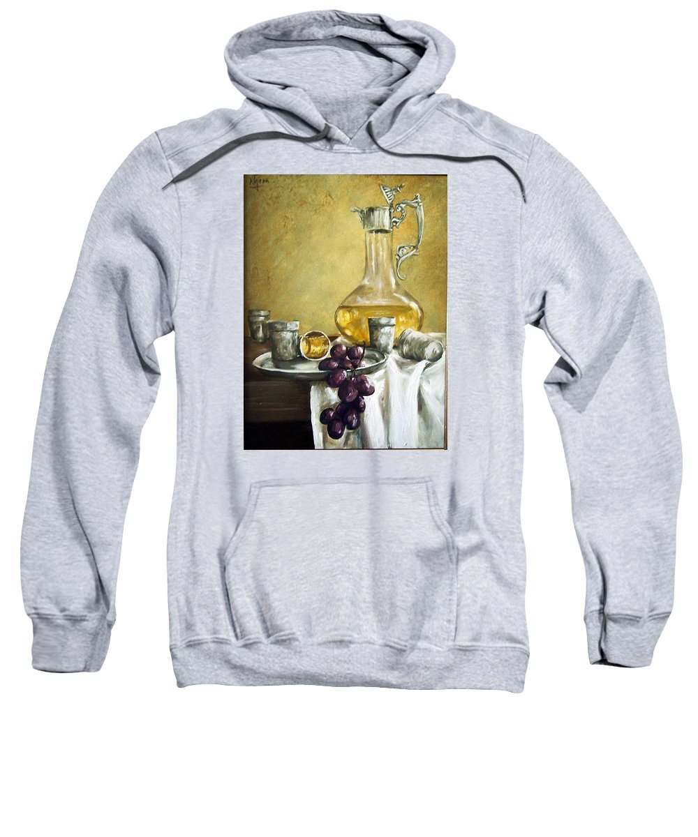 Still Life Cristal Bottle Grapes Fruits Glass Sweatshirt featuring the painting Grapes And Cristals by Natalia Tejera