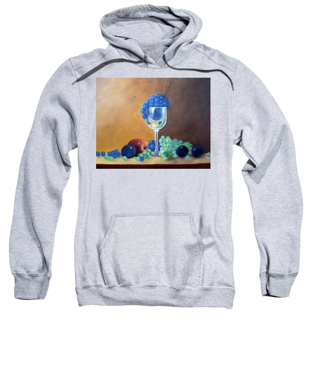 Wine Galsses With Grapes Sweatshirt featuring the painting Grapes And Plums by Susan Dehlinger