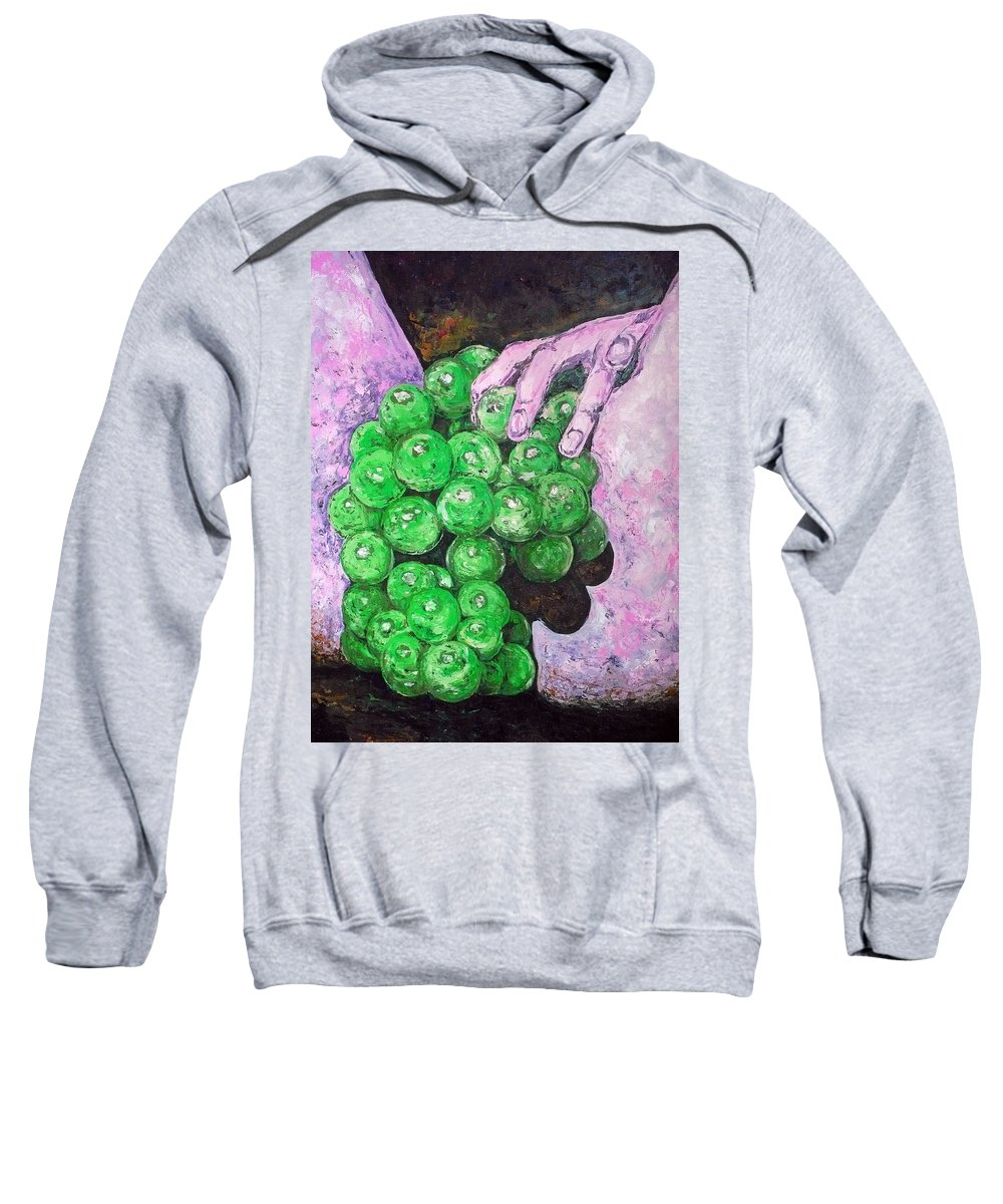 Fruits Sweatshirt featuring the painting Grapes On Butt by Ericka Herazo