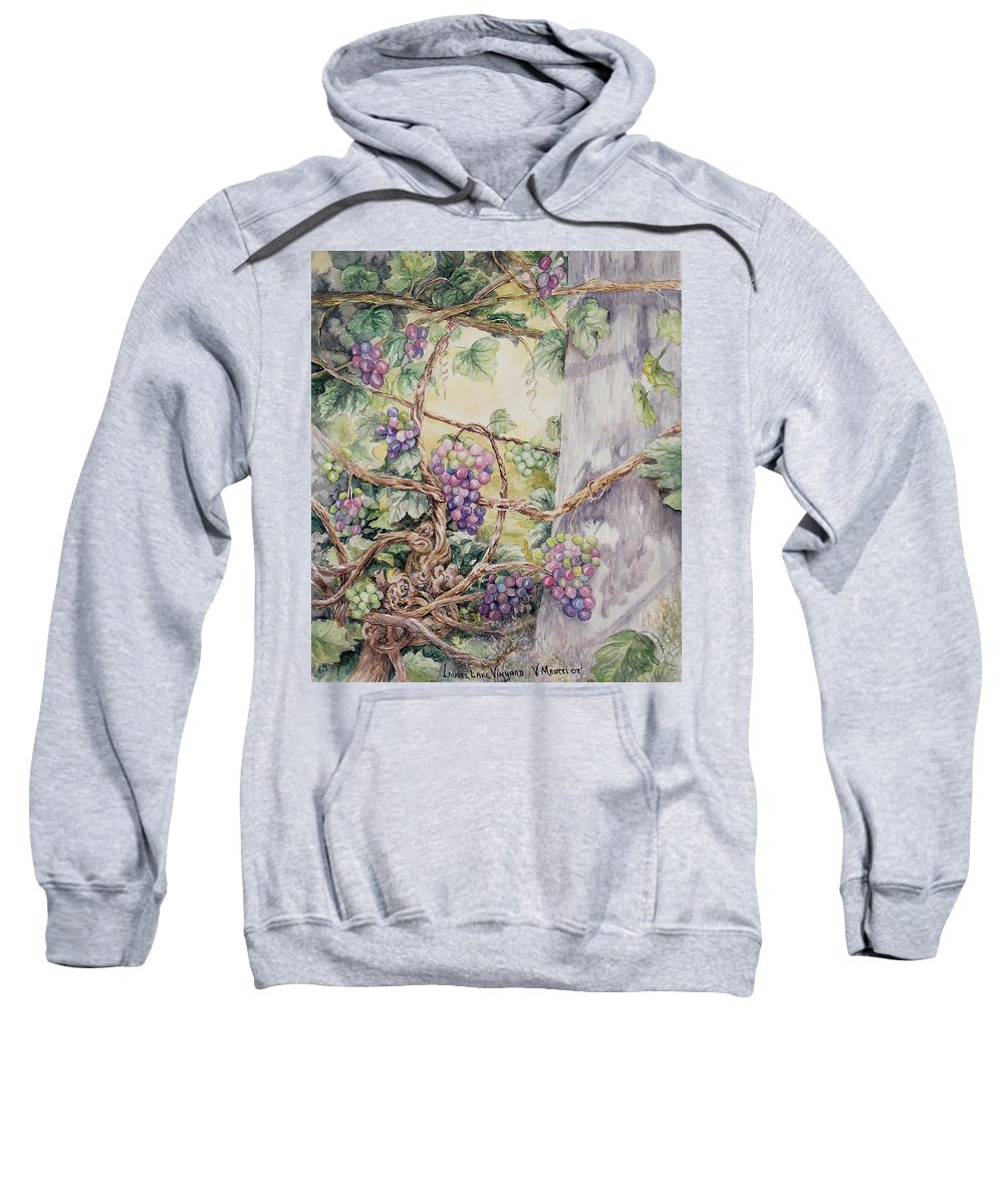 Vines Sweatshirt featuring the painting Grapevine Laurel Lakevineyard by Valerie Meotti