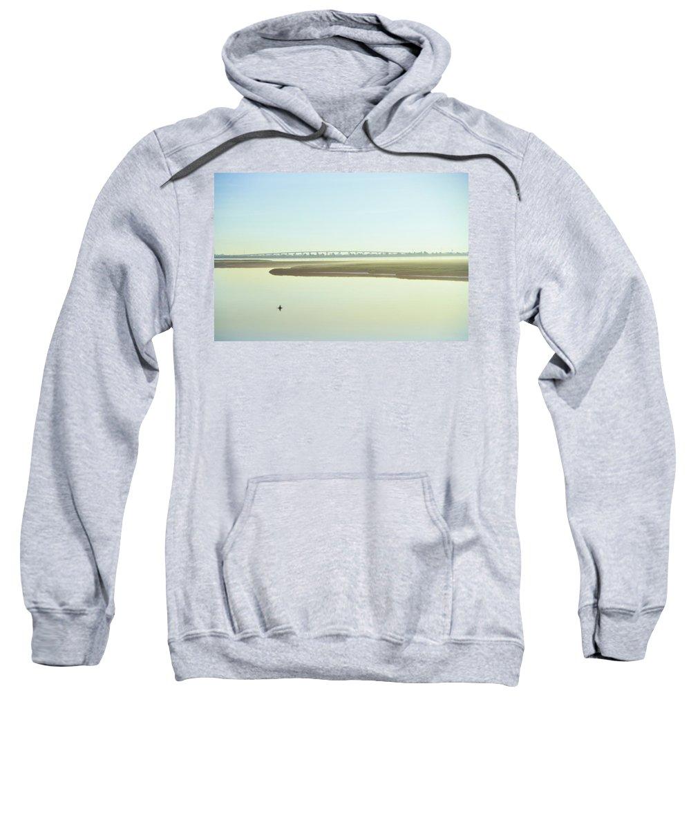 Grassy Sweatshirt featuring the photograph Grassy Sound Bridge North Wildwood New Jersey by Bill Cannon