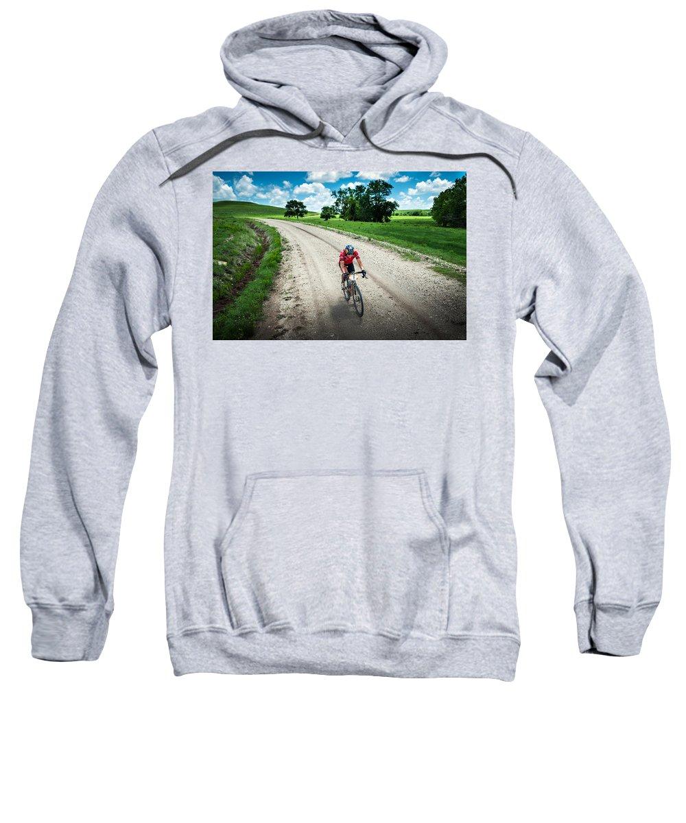 Dirty Kanza 200 Sweatshirt featuring the photograph Gravel Rusch by Eric Benjamin