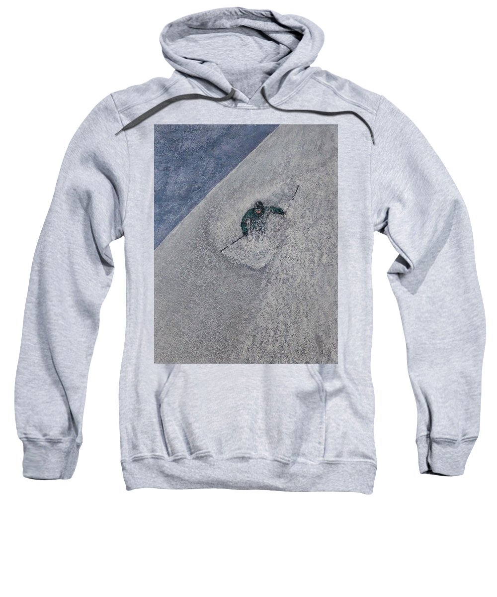 Ski Sweatshirt featuring the painting Gravity by Michael Cuozzo