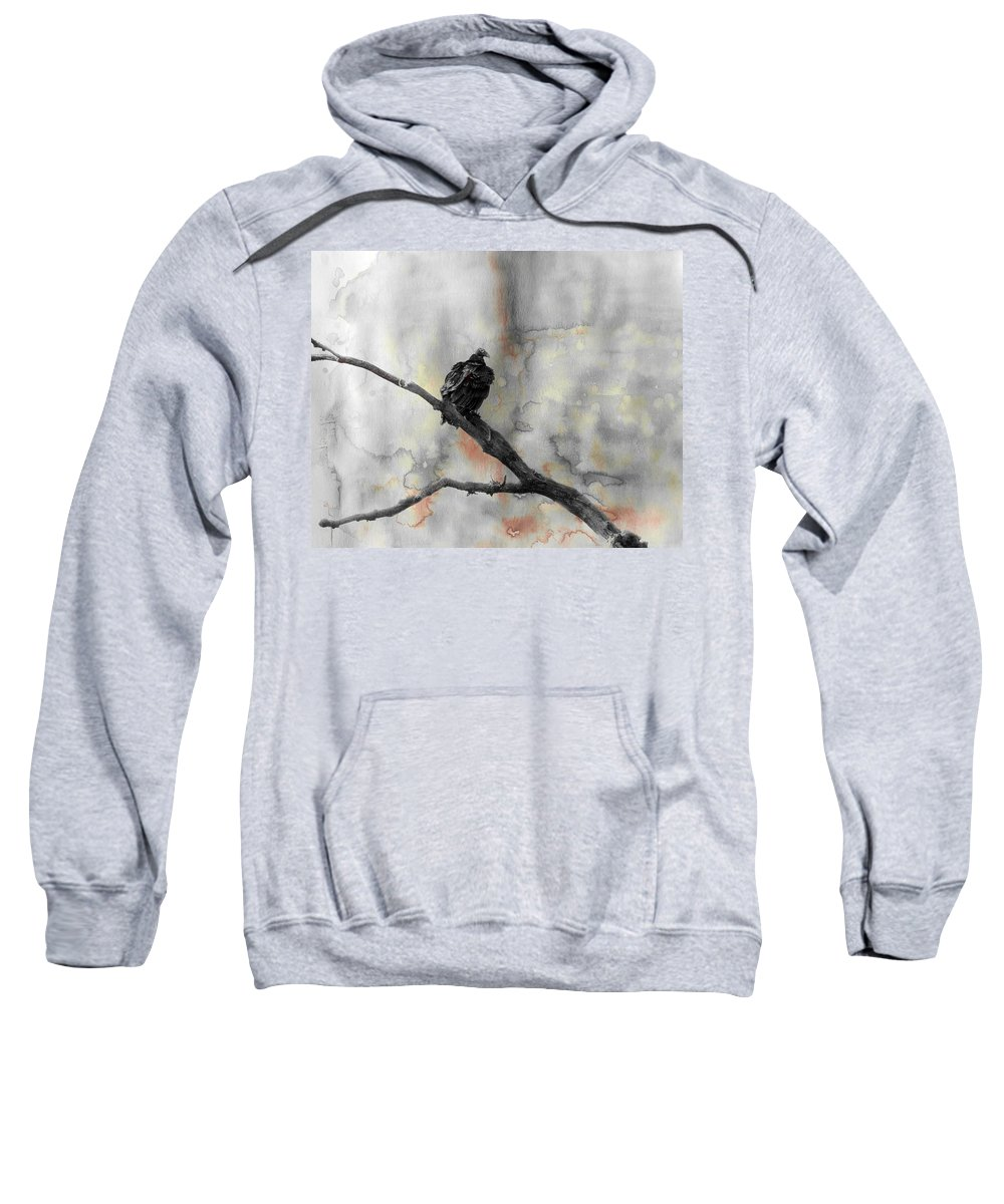 Vulture Sweatshirt featuring the mixed media Gray Day Vulture by Gothicrow Images