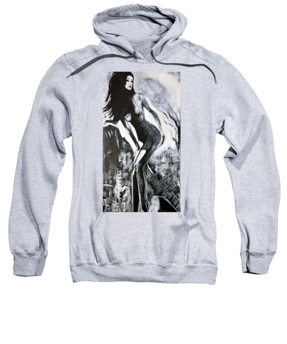 Beautiful Sweatshirt featuring the painting Gray Desert by Jarko Aka Lui Grande