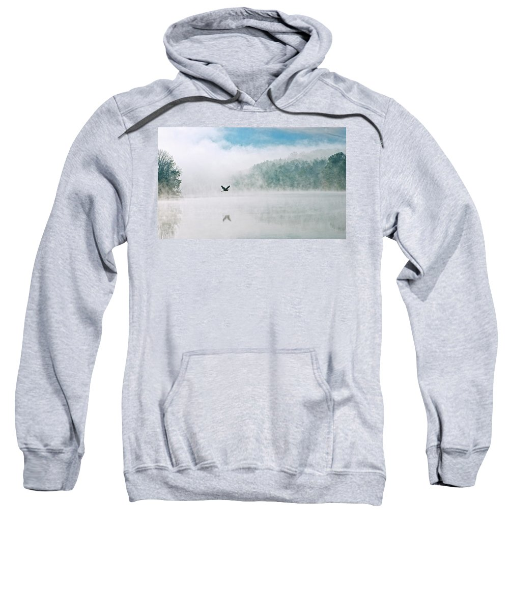 Steam Sweatshirt featuring the photograph Great Blue Heron Flight Over Foggy Lake by Leon Winkowski