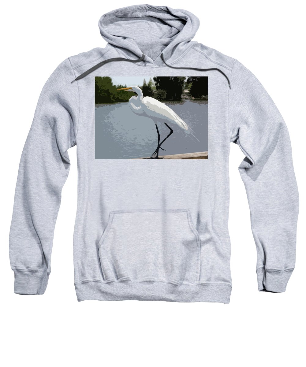 Great Sweatshirt featuring the painting Great Egret  Ardea Alba by Allan Hughes