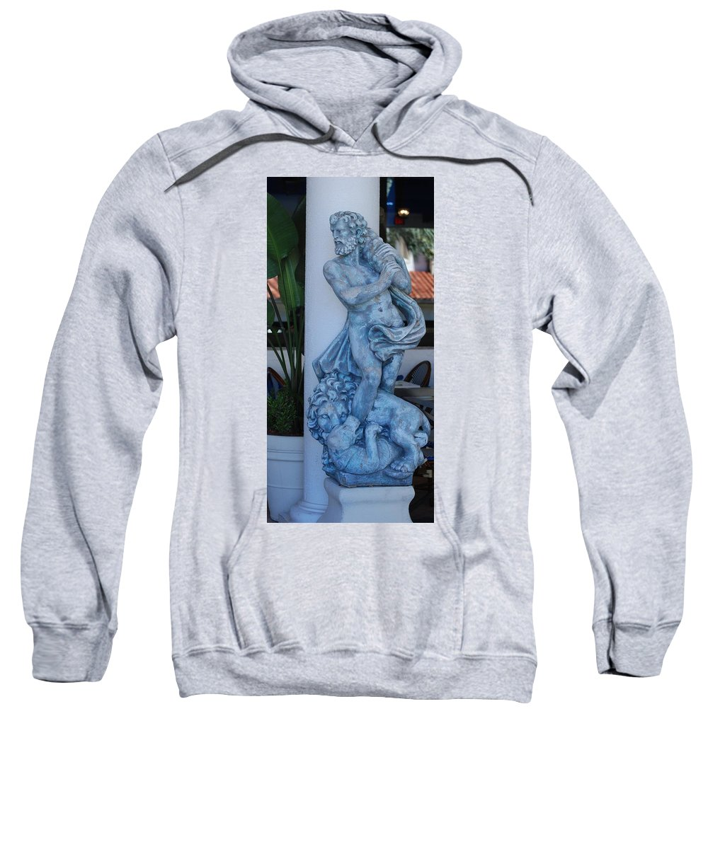 Statue Sweatshirt featuring the photograph Greek Dude And Lion In Blue by Rob Hans