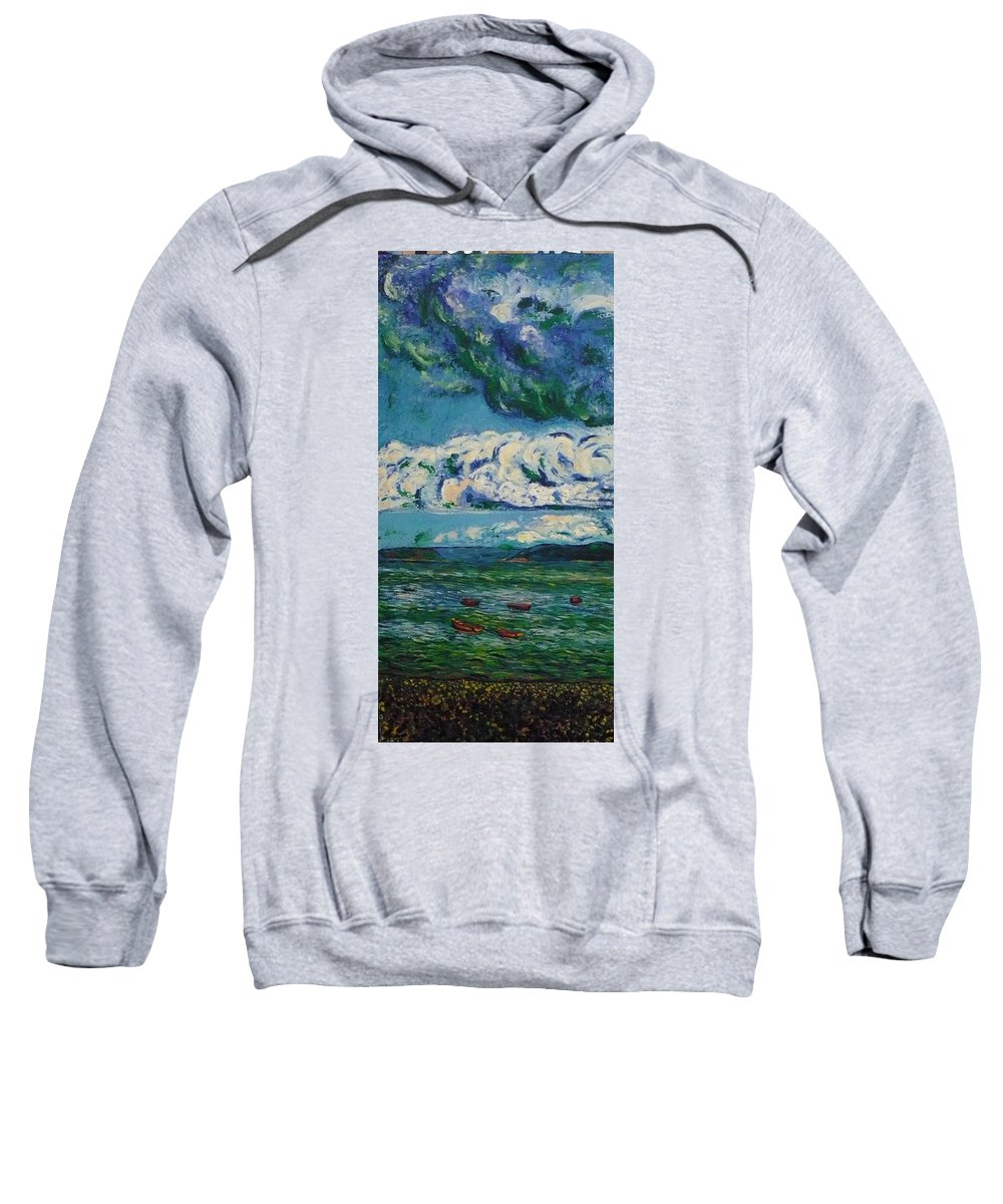 Landscape Sweatshirt featuring the painting Green Beach by Ericka Herazo