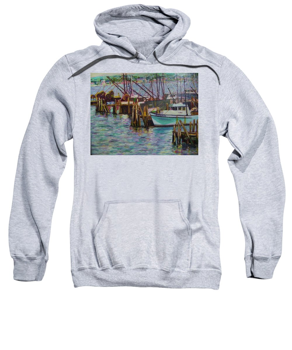 Boat Sweatshirt featuring the painting Green Boat At Rest- Nova Scotia by Richard Nowak