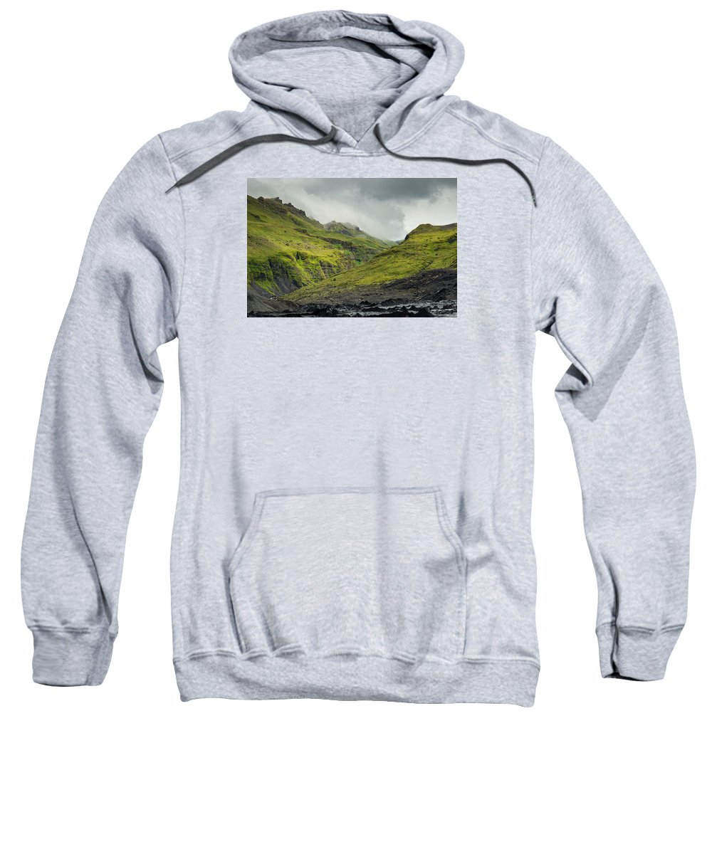 Solheomajokull Sweatshirt featuring the photograph Green Canyon by Claudio Bergero