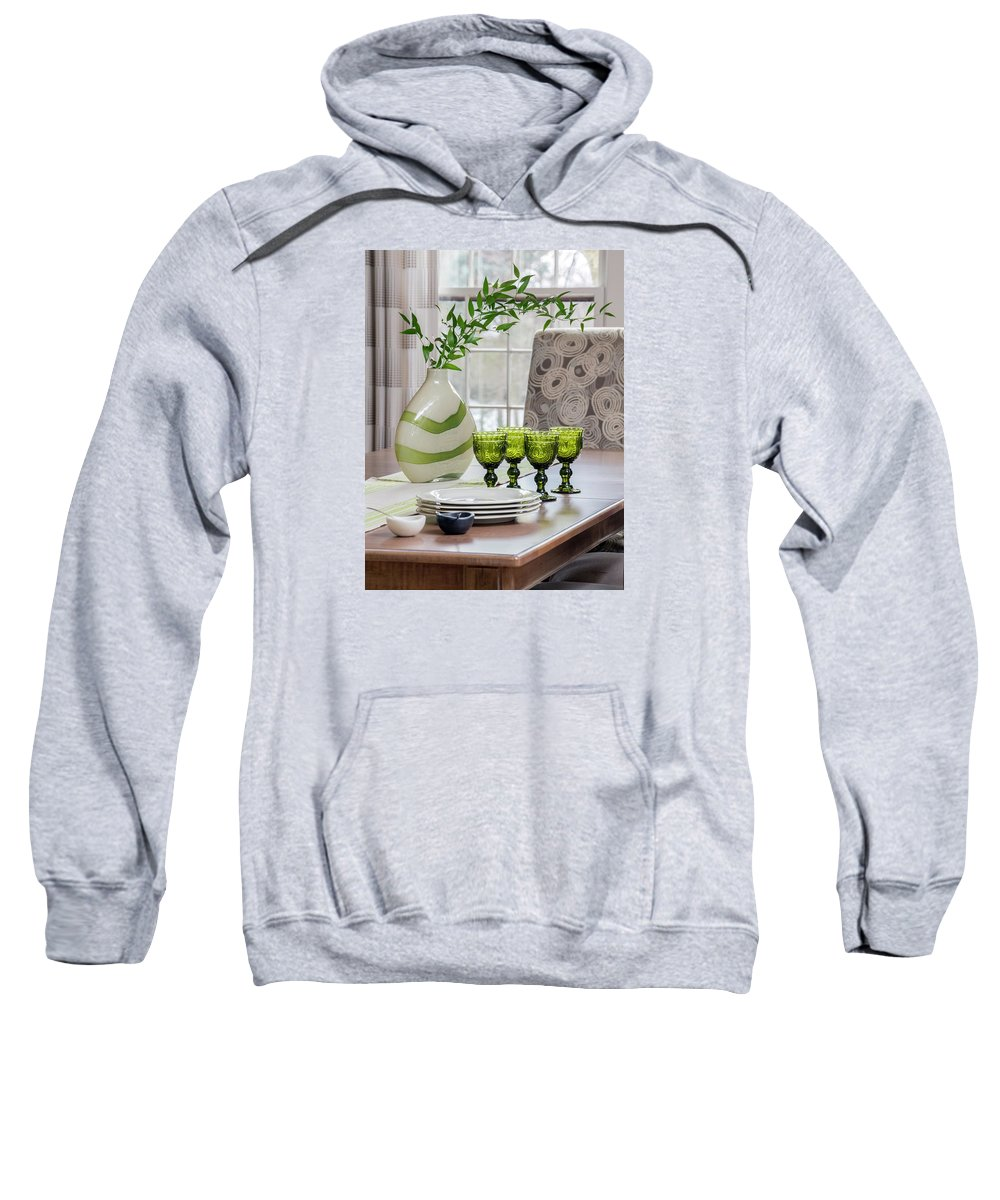 Glasses Sweatshirt featuring the photograph Green Decor Dinning Table Place Settings by Betty Denise