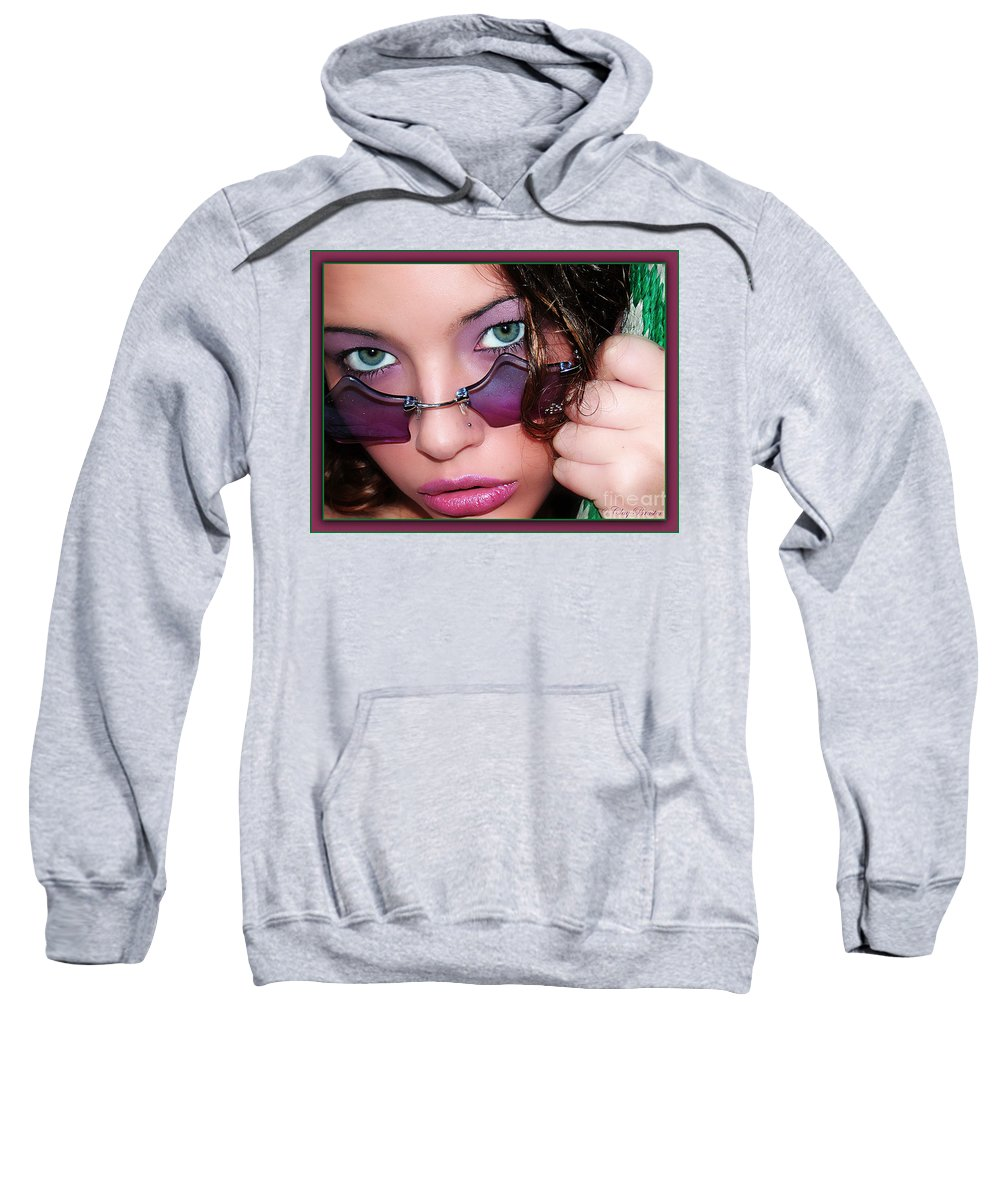 Clay Sweatshirt featuring the photograph Green Eye'd Girl by Clayton Bruster