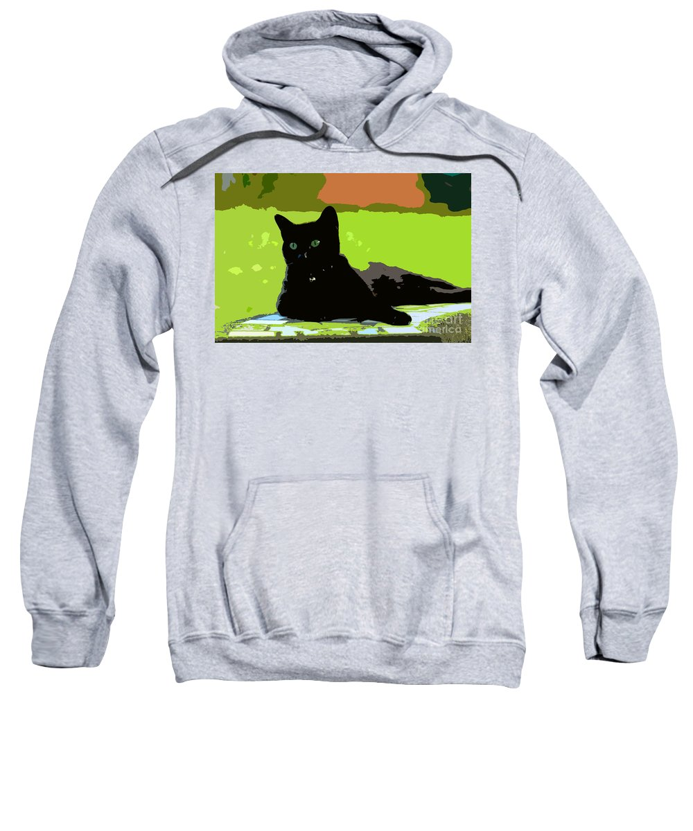 Cat Sweatshirt featuring the painting Green Eyes by David Lee Thompson