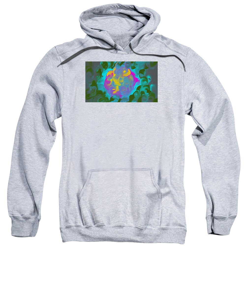 Abstract Sweatshirt featuring the painting Green Fire by Katey Love
