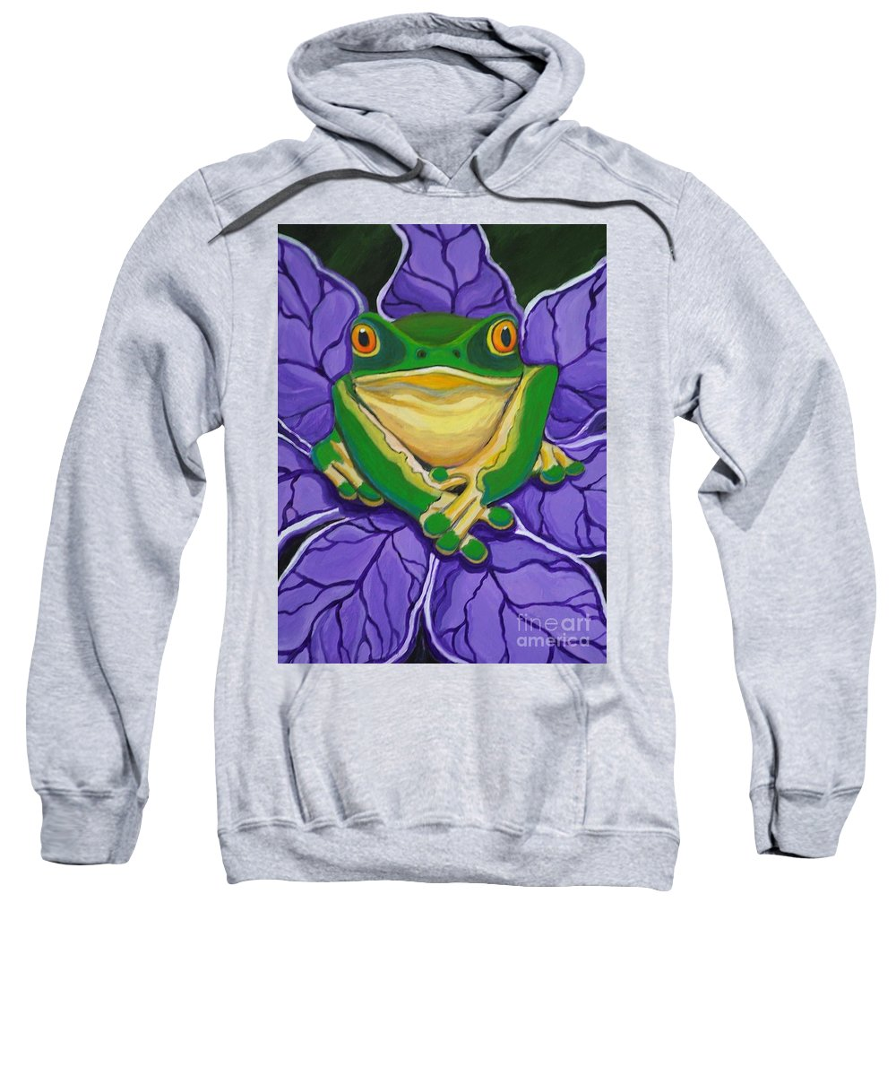 Frog Painting Sweatshirt featuring the painting Green Frog by Nick Gustafson
